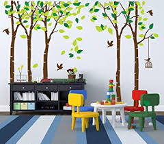 Amazon Com Luckkyy Large Five Family Trees With Birds And Birdcage Tree Wall Decal Tree Wall Sticker Kids Room Nursery Bedroom Living Room Decoration 103 9x70 9 Brown Baby