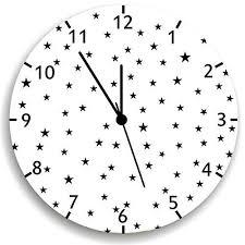 Amazon Com Kid O Design Studio Stars Wall Clock Decorative Kids Room Clock Battery Operated Wall Clocks Black And White 10 62 Inches Handmade