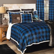 blue buffalo check bed set queen