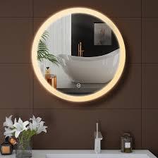 led bathroom mirror round illuminated