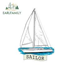 Earlfamily 13cm X 9 2cm For Sailboat Printed Vinyl Decal Window Sticker Car Truck Boat Waterproof Car Stickers Car Stickers Aliexpress