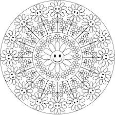 Smiling Daisy Mandala Coloring Pages Colouring Adult Detailed