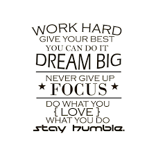 com wall decal quote work hard dream big never give up