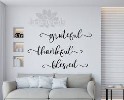 Grateful Thankful Blessed Grateful Decal Gratitude Wall Decal Grateful Wall Art Blessed Wall Decal