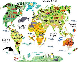 Amazon Com Homeevolution Large Kids Educational Animal Landmarks World Map Peel Stick Wall Decals Stickers Home Decor Art For Nursery Kitchen Dining