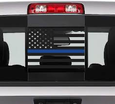 Amazon Com Bogar Tech Designs Rear Middle Window American Flag Vinyl Decal Compatible With And Fits Dodge Ram 2009 2020 Thin Blue Line Automotive