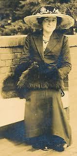 1913 RPPC Verna Smith Id'd Pretty Woman with Fur Muff, Big Hat Sepia  Postcard | eBay