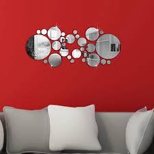 28pcs Set 3d Modern Mirror Wall Stickers Silver Acrylic Diy Mural Decal Home Living Room Bedroom Art Decor Removable Walmart Com Walmart Com