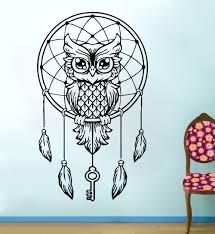Free Shipping Diy Owl Wall Decal Dream Catcher Vinyl Sticker Bedding Boho Feather Art Decor Art Decor Owl Wall Decalvinyl Stickers Aliexpress