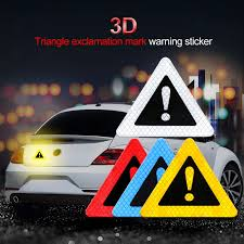 Universal Car Reflective Stickers Triangle Exclamation Mark Warning Sign Sticker Night Driving Safety Anti Collision Car Decal Reflective Strips Aliexpress