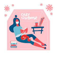 Lettering stay home. young woman in medical mask reading book ...