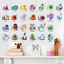 Amazon Com Jiahui Animal Alphabet Wall Decals Baby And Toddler Wall Decor Fun Abc Wall Stickers Decals Peel And Stick For Kids Nursery Bedroom Living Room Toys Games