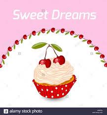 Cupcake Con Crema Batida Y Cerezas Tarjeta De Felicitacion De