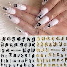 Nail Art Decal Stickers Alphabet Letter For Nails Decoration 3d Sticker Adhesive Manicure Tools Stickers Decals Aliexpress