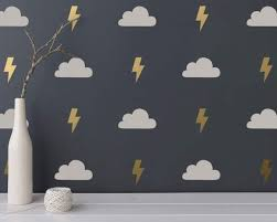 Cloud And Lightning Wall Decals 2 Color Wall Decals Cloud Etsy Cloud Decal Wall Colors Cloud Wall Decal