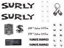 Surly Karate Monkey Frame Decal Set Black Bikesale Com