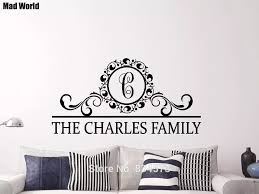 Personalized Family Name Monogram Lettering Wall Art Stickers Wall Decals Home Diy Decoration Removable Room Decor Wall Stickers Wall Stickers Aliexpress