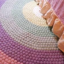 Pastel Rainbow Felt Ball Rug The Slumber Co Store Felt Ball Rug Girls Rainbow Bedroom Rainbow Girls Room