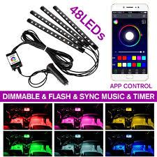 Đèn Dây Led Cho Xe Hơi Ứng Dụng Bluetooth Bộ Điều Khiển Đèn Nội Thất Xe Hơi  Cho Xe 48 Đèn LED Nhiều Màu Âm Nhạc Ô Tô Phụ Kiện Trang Trí