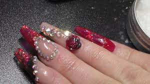 acrylic nails red and black extreme