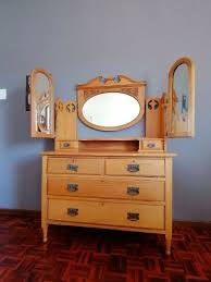 oak dressing table with side mirrors