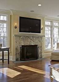 gas fireplace with tv above flat