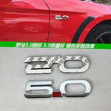 5 0l Black 3d Abs Chromed Car Emblem Badge Decal For Ford Mustang Gt F150 Coyote