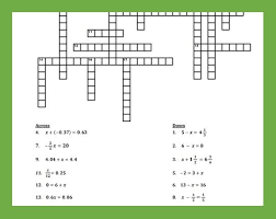 one step equations crossword puzzle