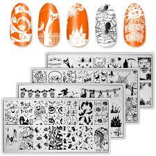 Amazon Com Whaline 4 Pieces Halloween Nail Art Plates Image