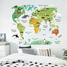 Amazon Com Kiki Monkey Cartoon Background Colorful English Words World Map Wall Art Decals Stickers Vinyl For Kids Rooms Parlour Television Wall Home Green Home Kitchen