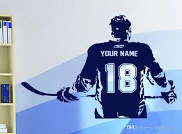 Hockey Player Wall Art Decal Sticker Choose Name Number Personalized Home Decor Wall Stickers For Kids Room Vinilos Paredes Wall Art Tree Stickers Wall Art Vinyl Decals From Onlinegame 8 96 Dhgate Com