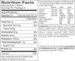 dannon yogurt drink nutrition fact