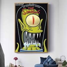 Simpsons Poster Simpson Cartoon Posters And Prints Canvas Painting Wall Art Picture For Living Room Home Decor Quadro Cuadros Painting Calligraphy Aliexpress