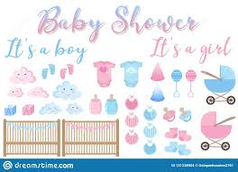 Vector Image Of An Invitation Card For Baby Shower. Set Of Items ...