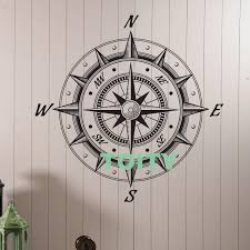 Wall Vinyl Decal Sea Nautica Compass Wind Rose Retro Style Decor Home Room Interior Design Window Murals H57cm X W57cm Wall Stickers Aliexpress