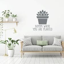 Potted Plant Wall Decal Vinyl Decor Wall Decal Customvinyldecor Com
