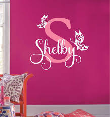 Custom Girl Wall Decal Butterfly Name Initial Bedroom Decor Girls Wall Decals Baby Girl Wall Decor Vinyl Wall Lettering