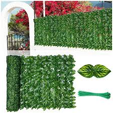 Amazon Com Lsxiao Decorative Fences Leafy Ivy Artificial Fence Screen Extra Privacy Polyester Leaf Anti Uv Fade Wooden Or Metal Fence Suitable For Balcony Or Backyard Color Green Size 1x9m Garden Outdoor