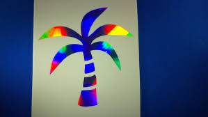 Holographic Tropical Car Window Decal 5 Inch Palm Tree Sticker Beach Bright