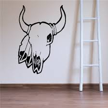 Cow Skull Feathers Horns Wall Decal Vinyl Decal Car Decal Dc6105