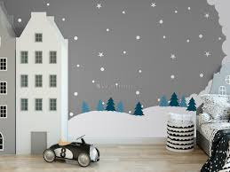 Kids White Winter Landscape With Green Pine Tree Wall Decal Sticker Wall Decals Wallmur