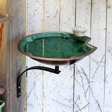 Lily Pad Birdbath W Wall Mount Bracket Quality Handcrafted Garden Bird Baths At Songbird Garden