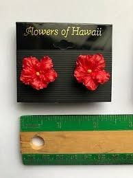 hawaiian tropical flower earrings red