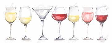 watercolor wine glasses set beautiful