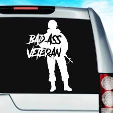 Bad Ass Veteran Vinyl Car Truck Window Decal Sticker Military Decal