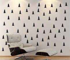 Peel Stick Pine Tree Patterned Wall Decalblack Tree Wall Etsy
