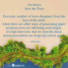 go green save the trees quotes writings by student of jnu