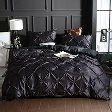 black pintuck bedding silk like satin
