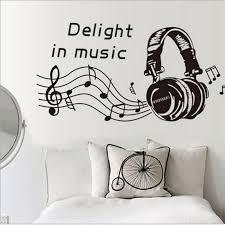 1x Creative Music Headphones Dj Headphones Wall Stickers Boys Room Wall Decor Vinyl Decals 2017 F Wall Decor Stickers Music Wall Stickers Vinyl Wall Art Decals