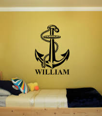 Anchor With Name Large Nautical Vinyl Wall Sticker Decal 22 X31 Colors Ebay